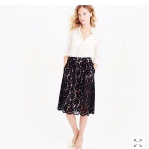 J.Crew Contrast Floral Lace Skirt, Black, Sz 8